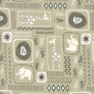 Moda Fabric Safari Life African Black Print Tan