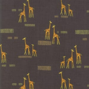 Moda Fabric Safari Life Giraffe Life Black