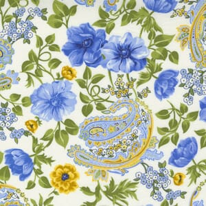 Small Image of the Moda Summer Breeze Flowers and Paisley Ivory Fabric 33610 11