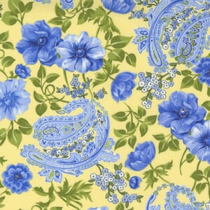 Small Image of the Moda Summer Breeze Flowers and Paisley Yellow Fabric 33610 13