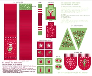 Lewis & Irene Christmas Glow Elf Accessories Red / Green Fabric Panel