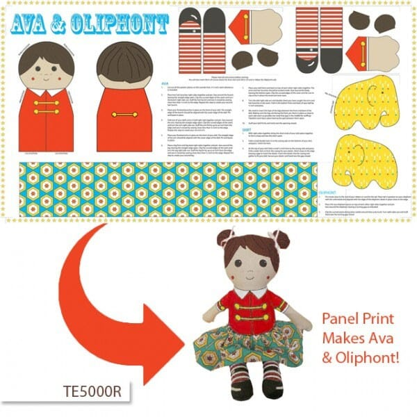 Patchwork Fabric Backyard Circus Doll Panel Red