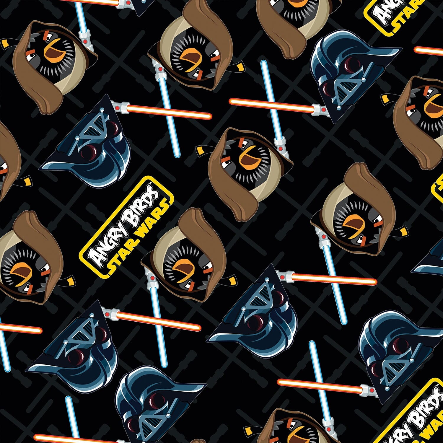 Patchwork Fabric Childrens Angry Birds Star Wars Fabric Black Duel