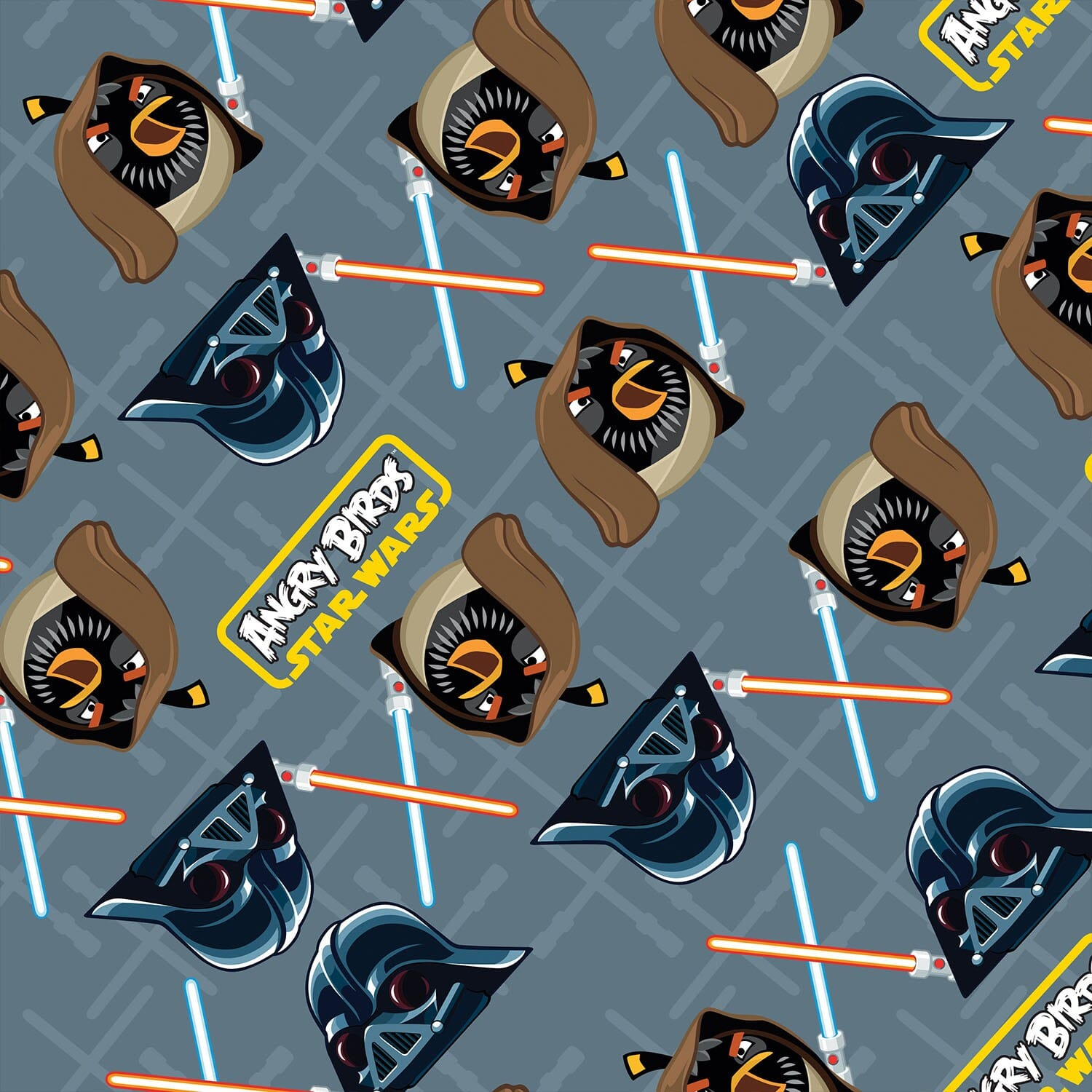 Patchwork Fabric Childrens Angry Birds Star Wars Fabric Grey Duel