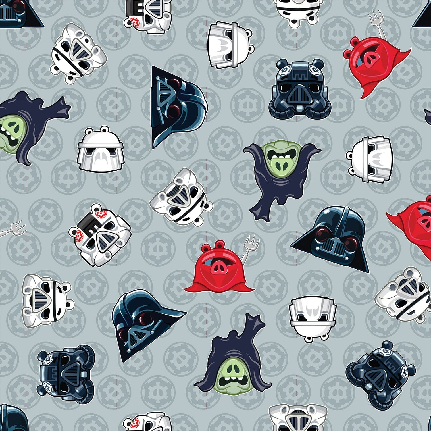 Patchwork Fabric Childrens Angry Birds Star Wars Fabric Heads of Empire Grey