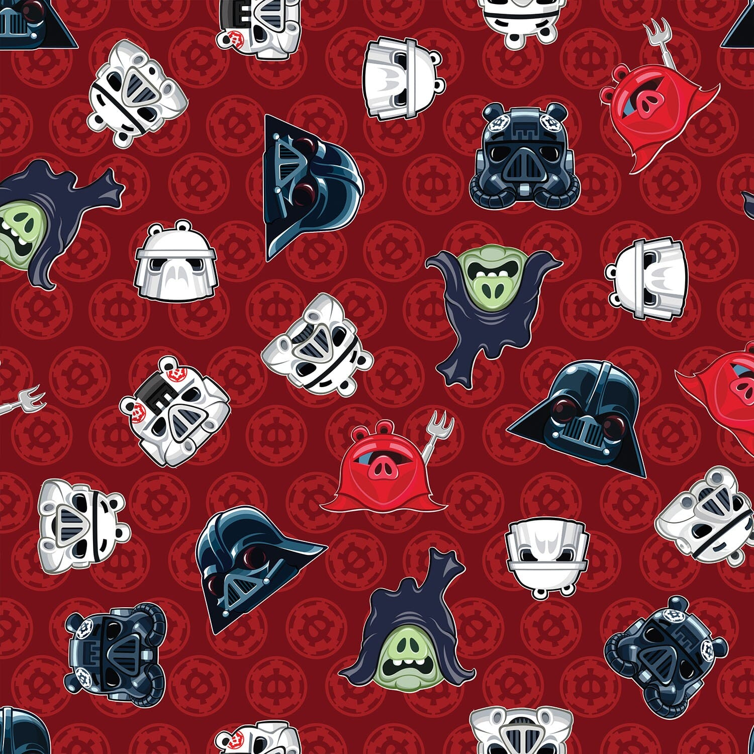 Patchwork Fabric Childrens Angry Birds Star Wars Fabric Heads of Empire Red