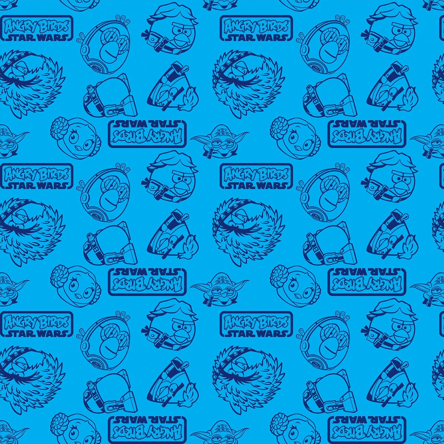 Patchwork Fabric Childrens Angry Birds Star Wars Fabric Outlines Blue