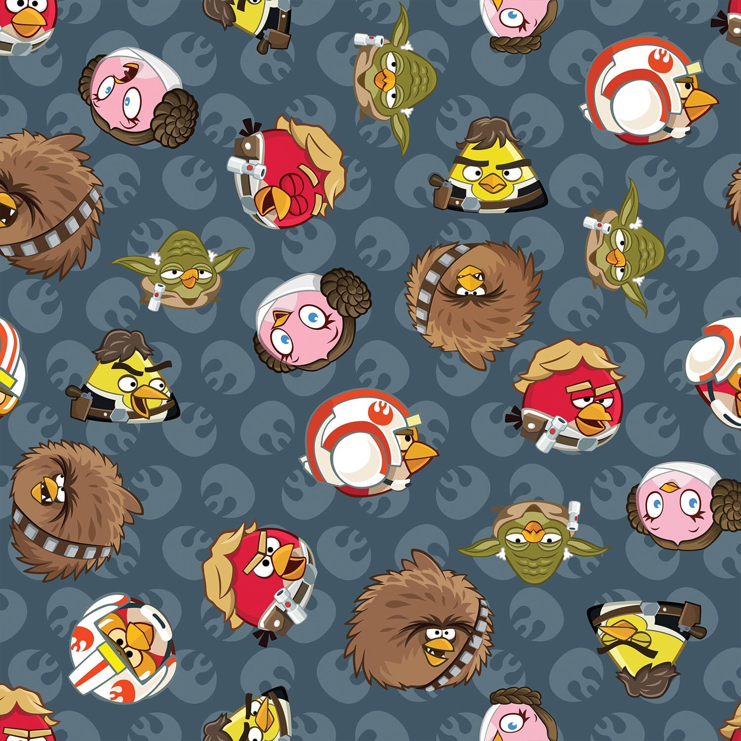 Patchwork Fabric Childrens Angry Birds Star Wars Fabric Rebel Leaders Grey