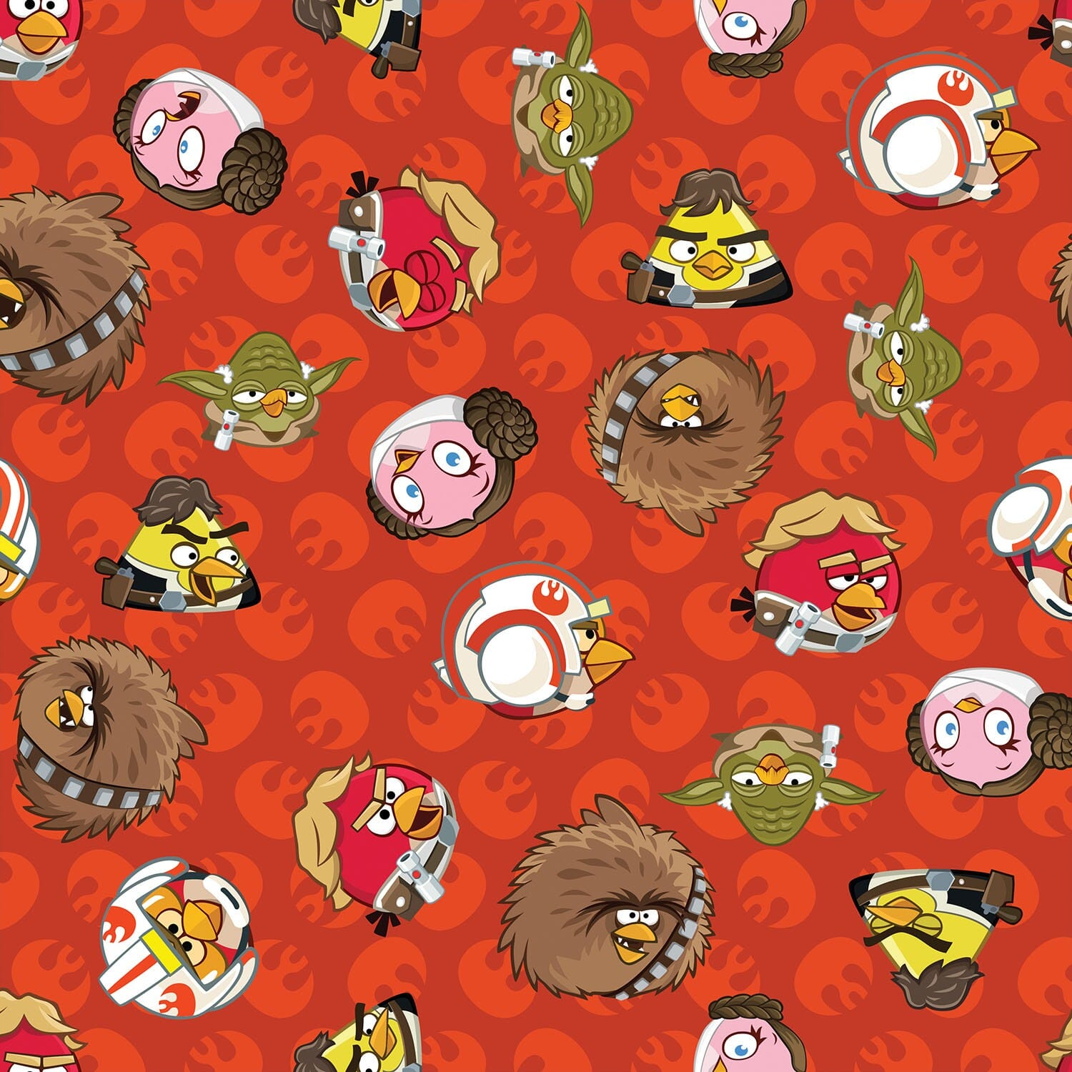 Patchwork Fabric Childrens Angry Birds Star Wars Fabric Rebel Leaders Red