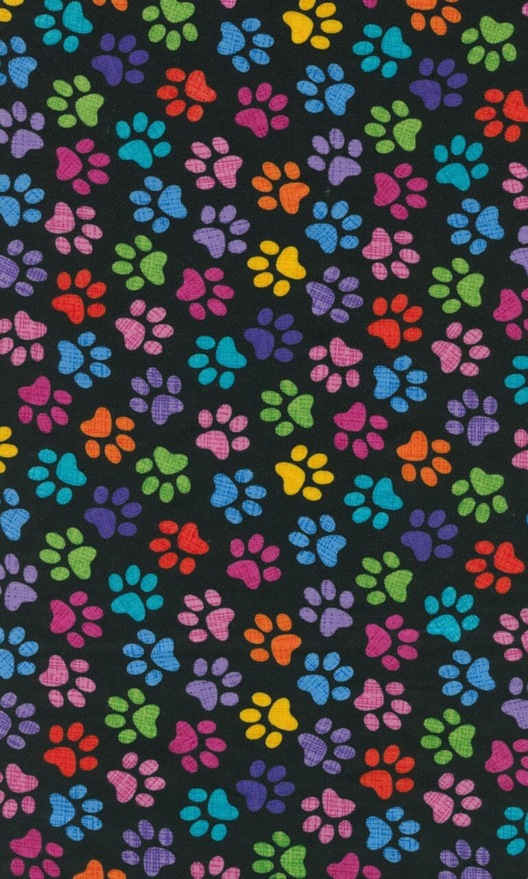 Timeless Treasures Patchwork Fabric Paw Prints Bright