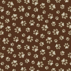 Small Image of Paw Prints Fabric Brown