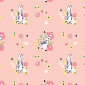 Peter Rabbit Flowers and Dreams Floral Bees Pink