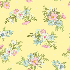 Playful Kittens Floral Fabric