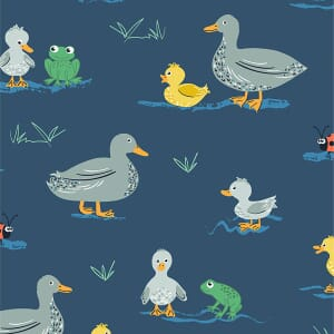 Puddles and Boots Fabric Ducks and Frogs Dark Blue by Diane Rooney