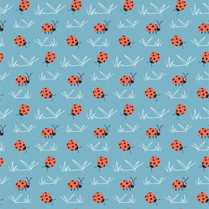 Puddles and Boots Fabric Ladybirds Blue by Diane Rooney