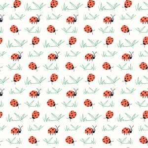 Puddles and Boots Fabric Ladybirds White by Diane Rooney