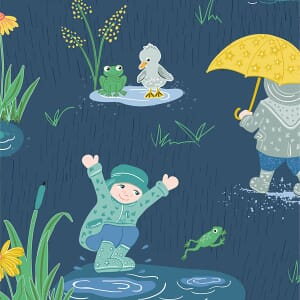 Puddles and Boots Fabric Splashing Puddles Blue by Diane Rooney