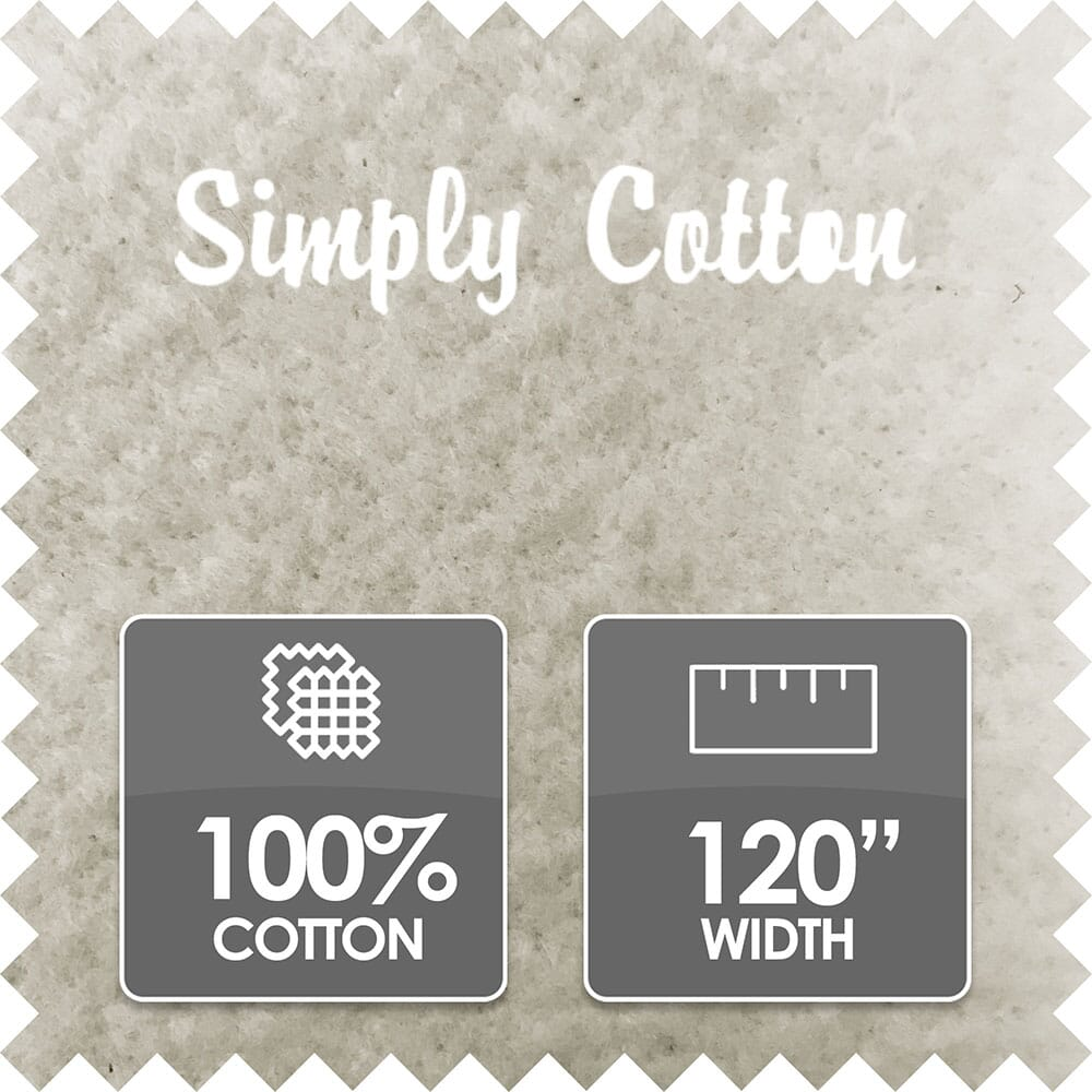Simply Cotton Wadding, 100% Cotton, 120 Inch Wide