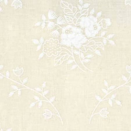 Quilt Backing Fabric 108 Inch Wide Tone on Tone White Tint Floral Bouquet Cotton Fabric