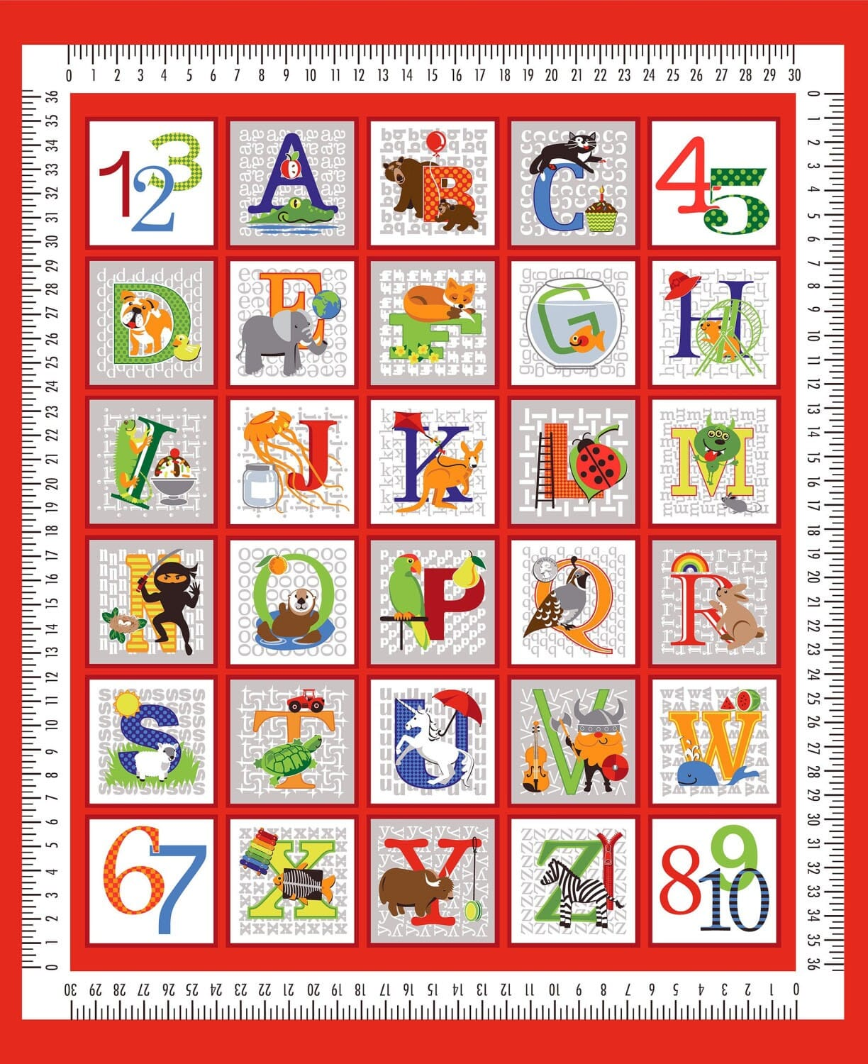 Red Fun With ABC 36 Inch Fabric Panel