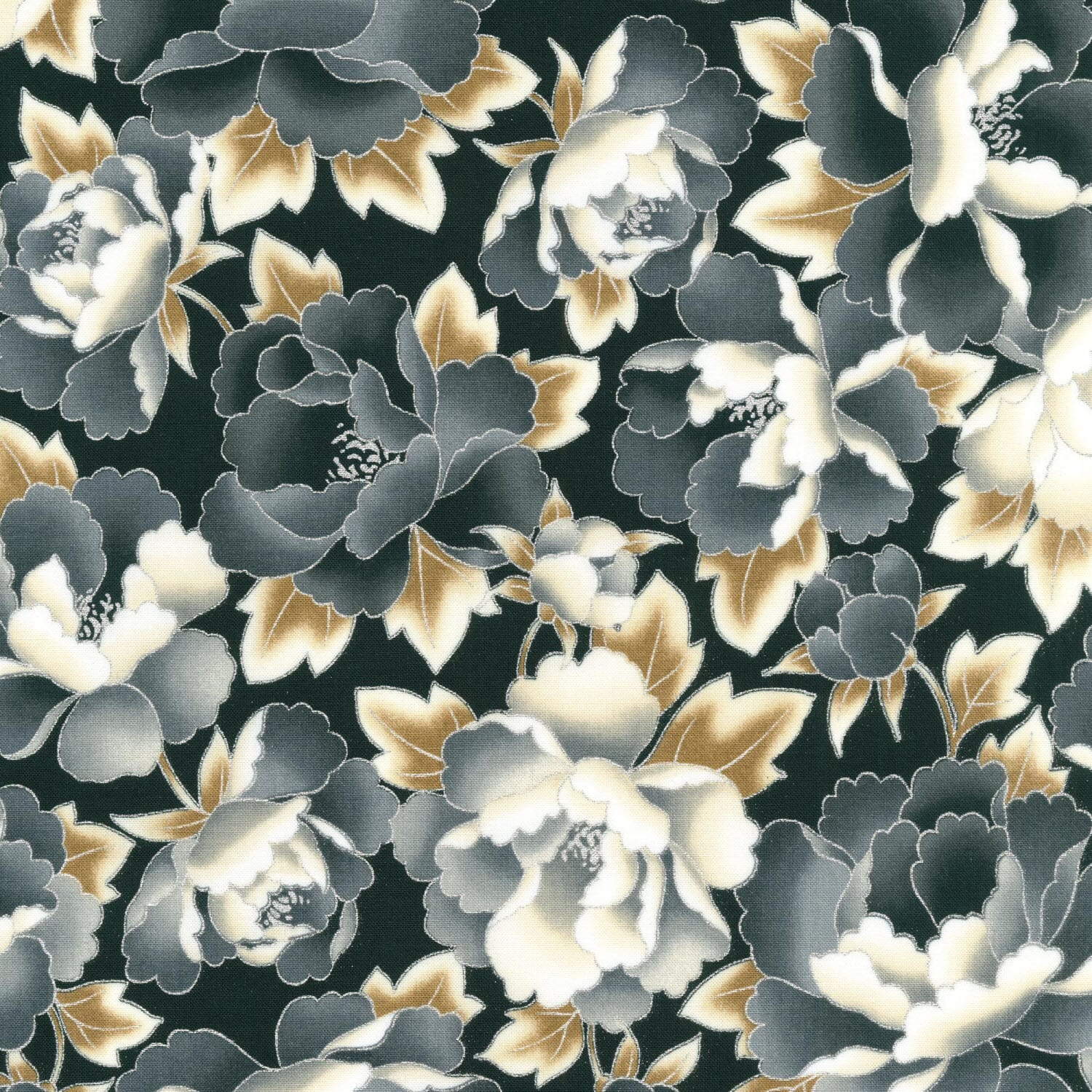 Robert Kaufman Imperial Collection Antique Floral With Metallic Cotton Fabric