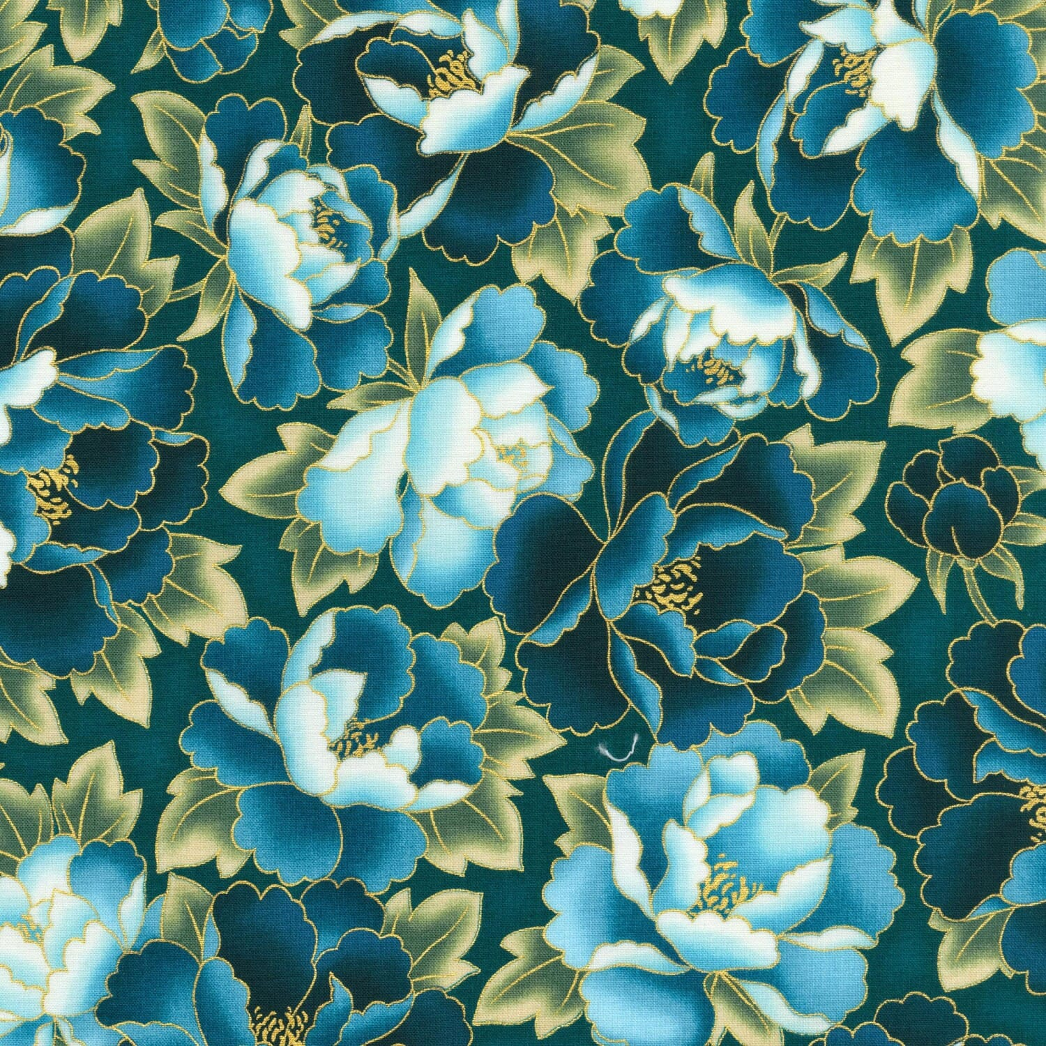Robert Kaufman Imperial Collection Vintage Floral With Metallic Cotton Fabric