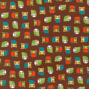 Small Image of Robert Kaufman Patchwork Fabric Mini Owls Earth