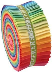 Robert Kaufman Roll Up 2.5 Inch Strips of Kona Cotton Fabric Bright Palette 41 Pieces Per Pack