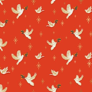 Ruby Star Candlelight Prints Doves Poinsettia