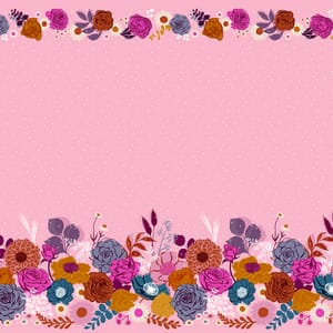 Ruby Star Fabric Rise Shine Double Border Peony RS0014 12M