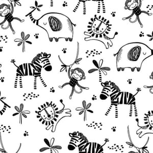 Safari Central Fun Black and White Fabric