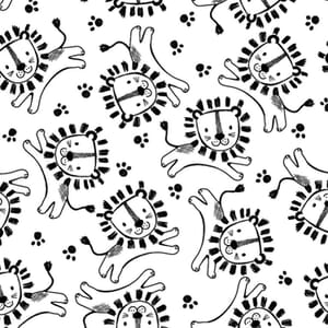 Safari Central Lions Black and White Fabric