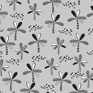 Safari Central Trees Black and White Fabric