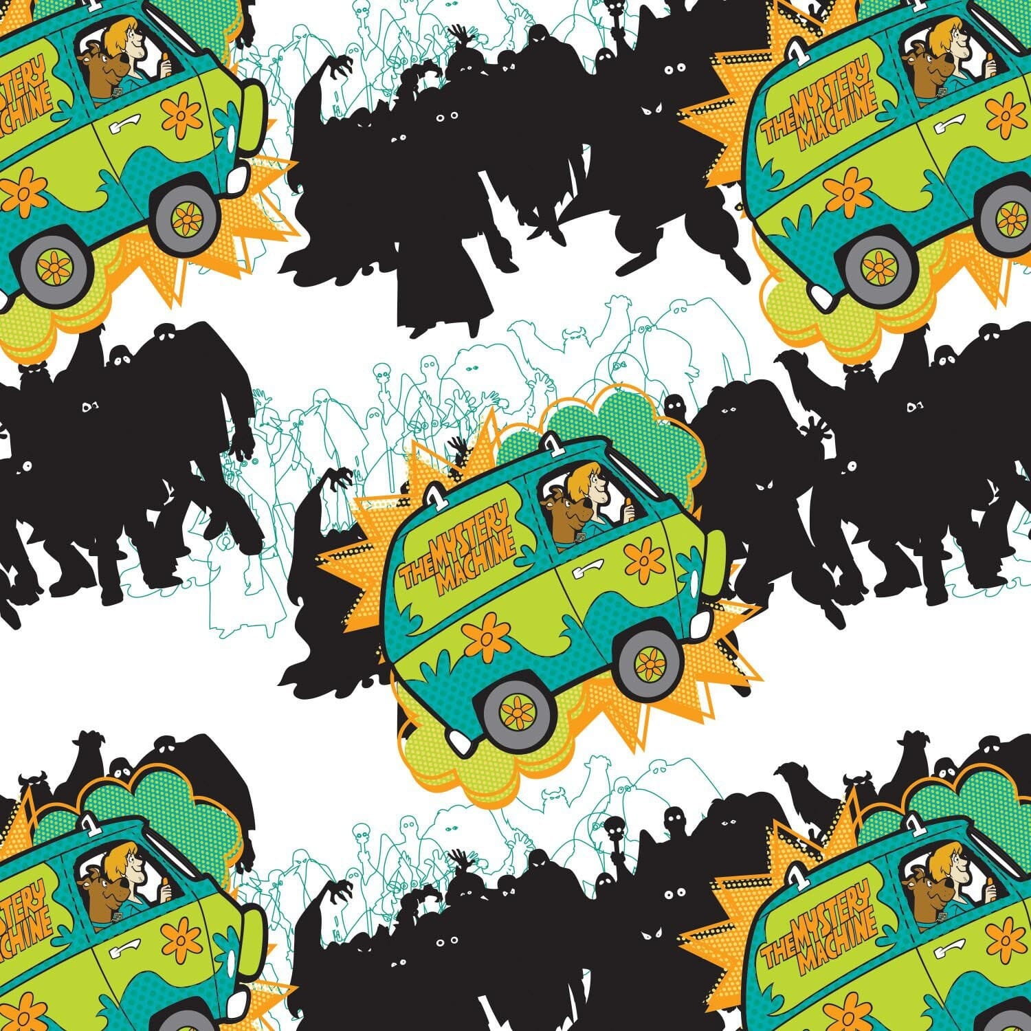 Scooby Doo And The Mystery Machine Fabric White Background