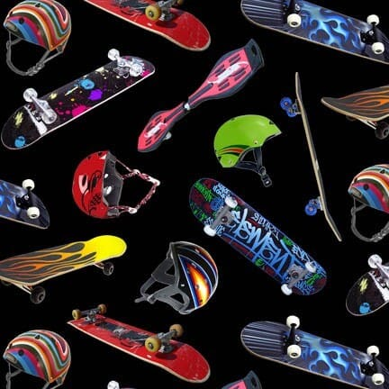 Skateboard Fabric Bright with Black Background