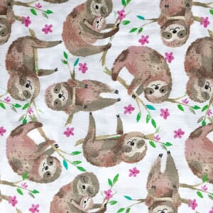 Quilters Palette Sloth White Fabric