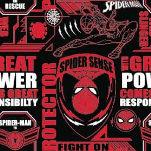 Spiderman Power & Responsibility Quilting Fabric