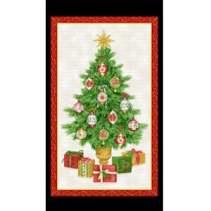 Decorated Christmas Tree Fabric Panel 24x44 Inch