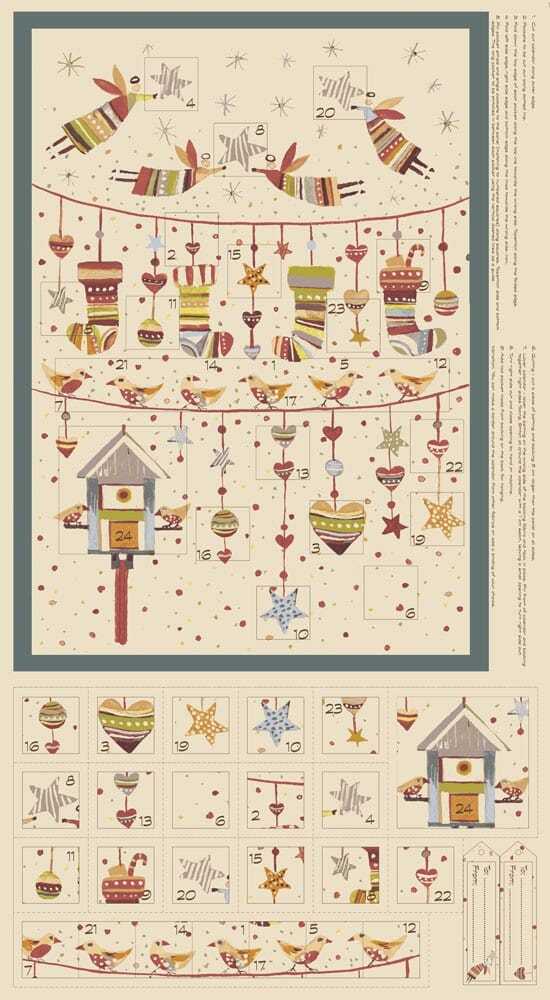 Stof Fabric Sophie Advent Calender Cotton Fabric Panel Natural