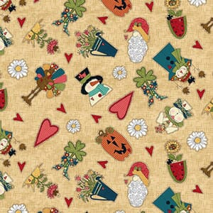 Base Image of Stof Doodle Days Calendar Quilting Fabric 4703-537
