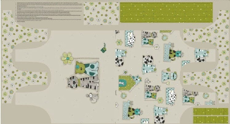 Stof Patchwork Fabric Novelty Cat and Dog Bag Fabric Panel Grey Green