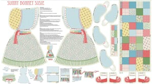 Small Image of Sunny Bonnet Susie Cotton Fabric Panel 60cm