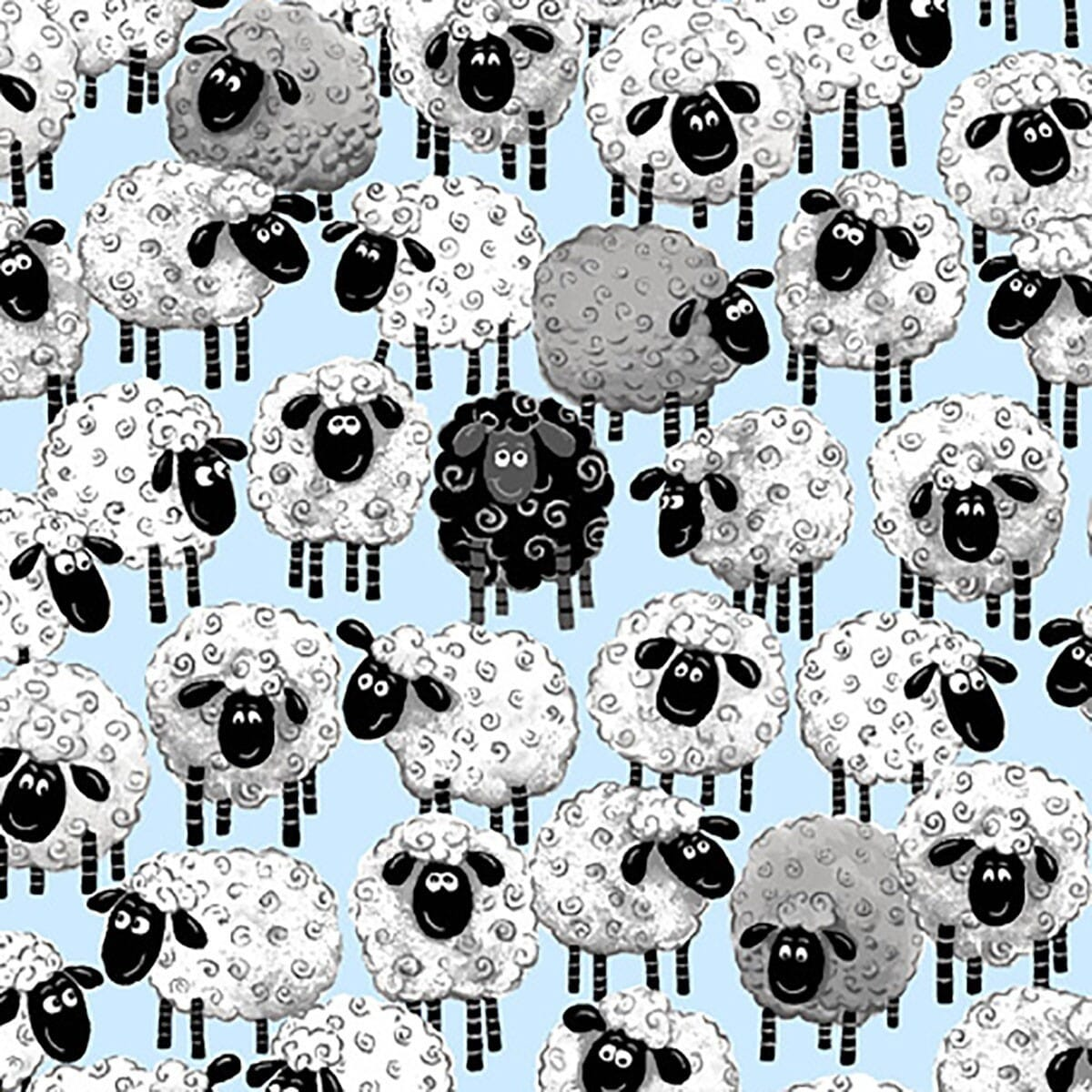 Patchwork Fabric Lewe The Ewe All Over Print Blue