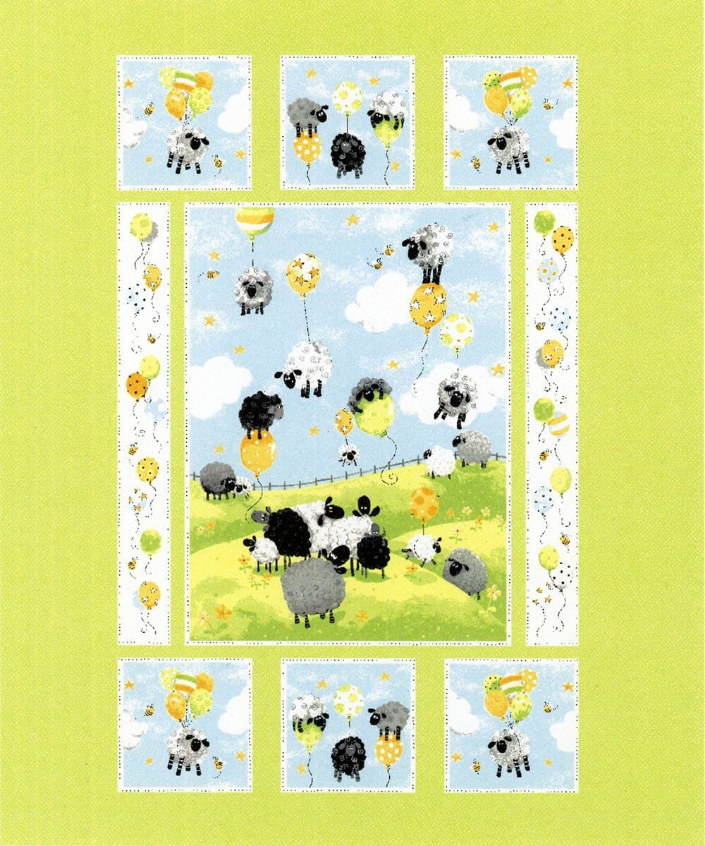 Susybee Blue Lewes Balloons Quilt Panel