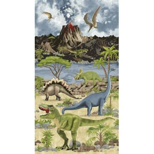 Timeless Treasures Volcano T-Rex Panel 60CM