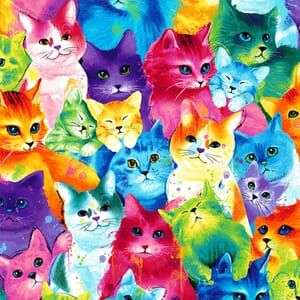 Timeless Treasures Cat Faces Multi Colour Quilting Fabric