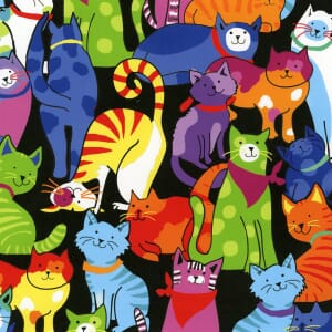 Small Image of Timeless Treasures Multi Brite Cats