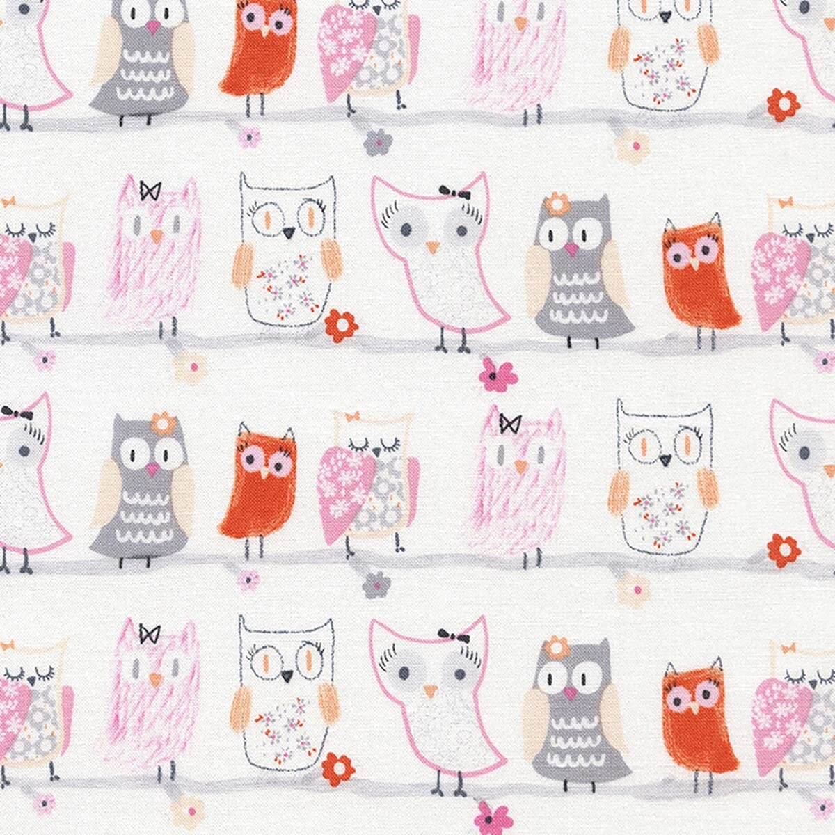 Timeless Treasures Owls on Branches White Cotton Fabric