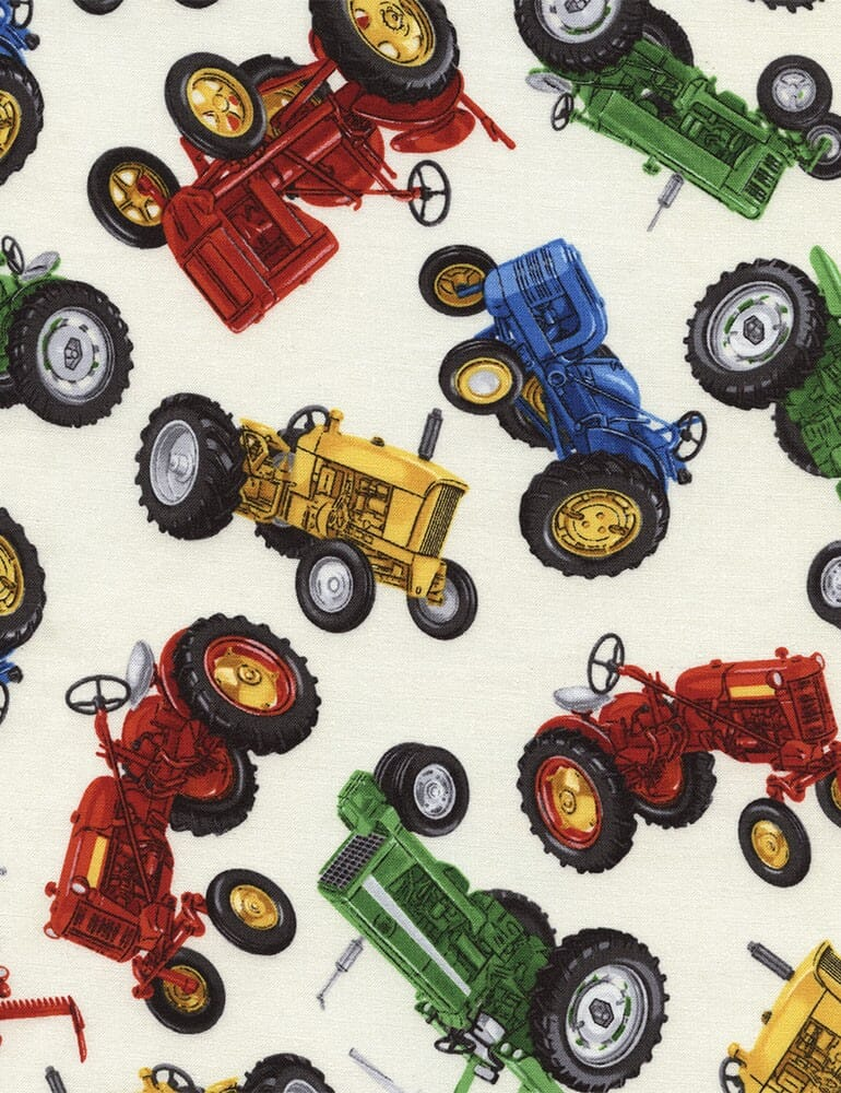 Timeless Treasures Patchwork Fabric Tractors Discontinued