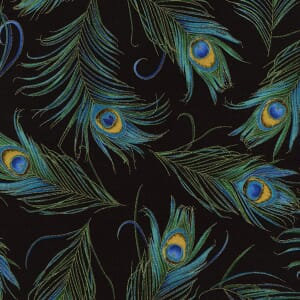 Small Image of Timeless Treasures Peacock Feathers Black With Metallic Cotton Fabric